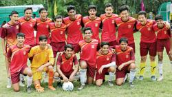 Players of Bishop's School, Camp pose for a group photograph on Friday.