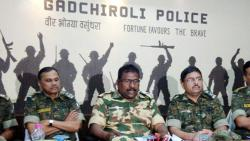 Addl. Director General of Police (Special Operations) Maharashtra State, D Kanakratnam (C) and other top officials addresses the press conference. PTI photo