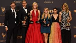 """Reese Witherspoon, Nicole Kidman, and the cast and crew of """"Big Little Lies"""" pose with the award for Outstanding Limited Series for """"Big Little Lies"""""""" during the 69th Emmy Awards at the Microsoft Theatre on September 17, 2017 in Los Angeles, California. /"""