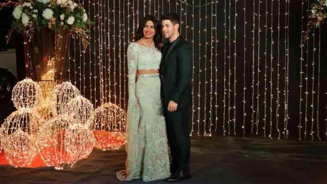 Priyanka Chopra and Nick Jonas during a reception in Mumbai
