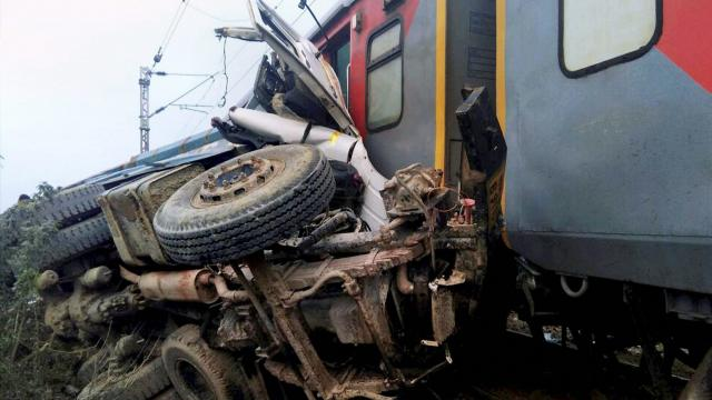 Nine coaches of Azamgarh-Delhi Kaifiat Express train derailed after colliding with a dumper in Auraiya district of Uttar Pradesh on Wednesday. PTI Photo