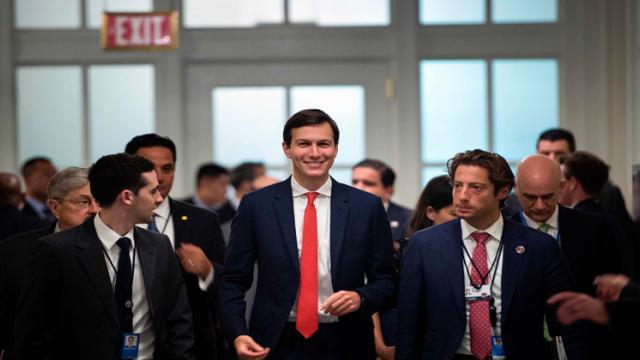 Trump Senior Advisor Jared Kushner (C) walks to a US and China comprehensive Economic Dialogue at the US Department of the Treasury July 19, 2017 in Washington, DC.