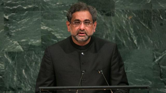 Pakistan's Prime Minister Shahid Khaqan Abbasi addresses the U.N. General Assembly at the United Nations on September 21, 2017 in New York, New York.