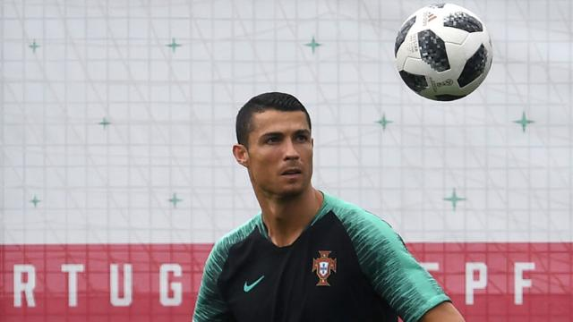 Portugal's forward Cristiano Ronaldo attends a training session at the team's base in Kratovo, outside Moscow, on June 19, 2018. Francisco Leong/AFP