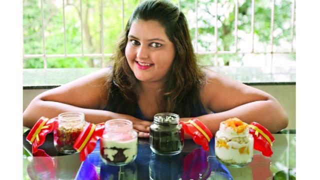 Sanaya Musani with her cake jars