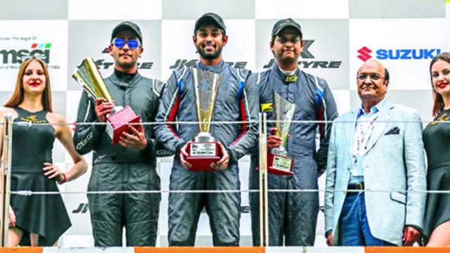 CMD of JK Tyre Industries Raghupati Singhania gave away the championship awards to the EURO JK 17 winners at the Buddh International Circuit.