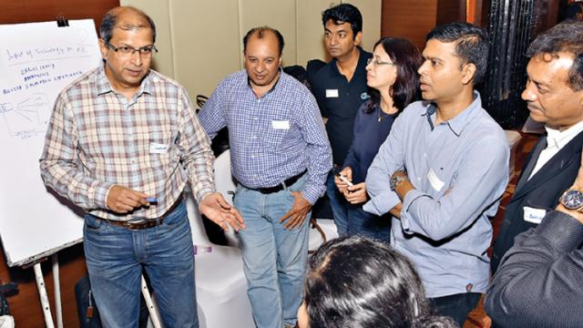 Participants discussing a topic during the event
