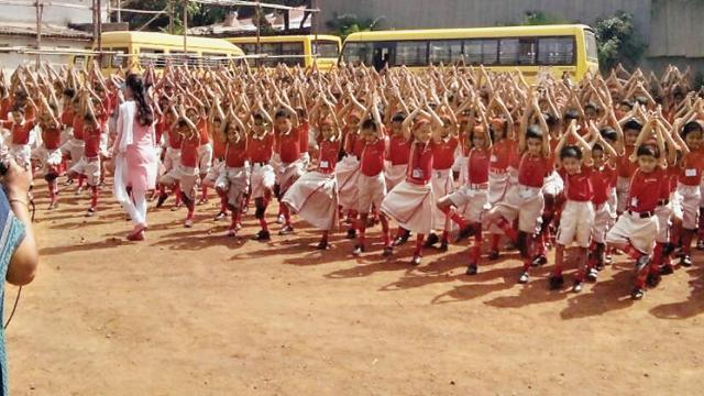 The students of Cambridge International School celebrate Int'l Yoga Day.
