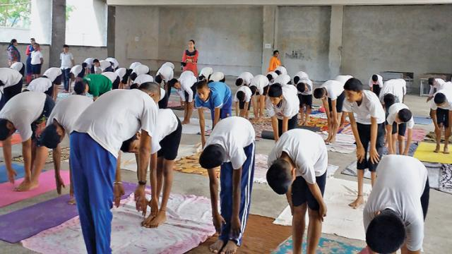 The students of Pratibha International School participate in International Yoga Day celebrations.