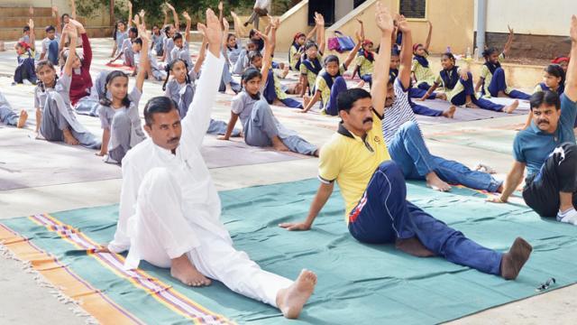 The Pune Municipal Corporation (PMC) Education Department organised Yoga Day at  Veer Netaji Palkar Primary School, Shivajinagar