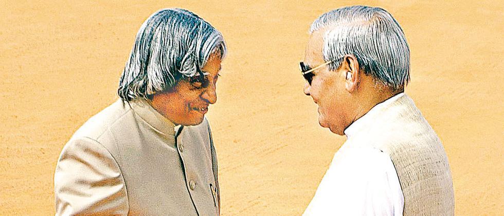 Former president APJ Abdul Kalam with Atal Bihari Vajpayee in 2003.
