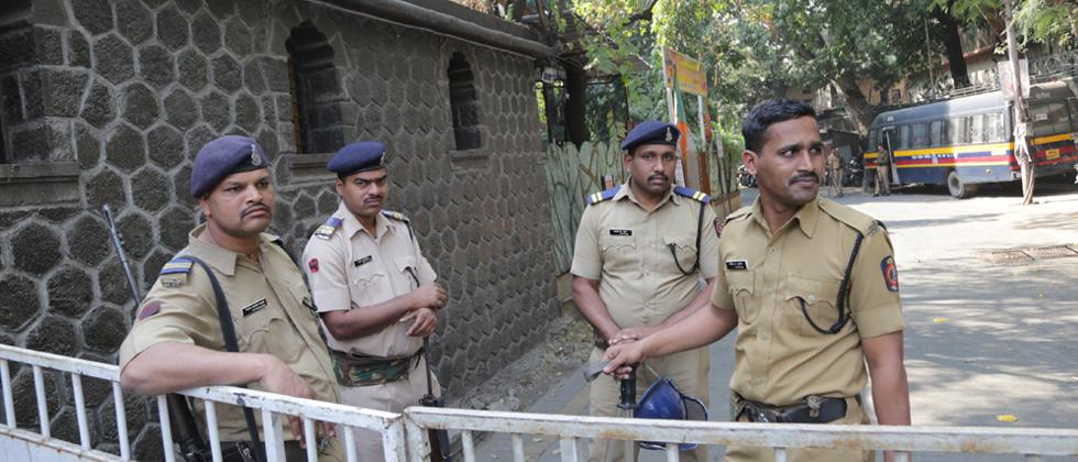 Police protection at the house of Milind Ekbote
