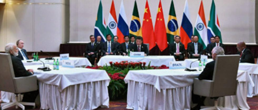 Prime Minister Narendra Modi, Russian President Vladimir Putin, Chinese President Xi Jinping and other leaders at the informal meeting of leaders of the BRICS countries, on the sidelines of the 12th G-20 Summit in Hamburg, Germany.