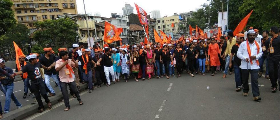 After holding protests in various districts of Maharashtra, members of the Maratha community on Wednesday held an agitation in Mumbai.