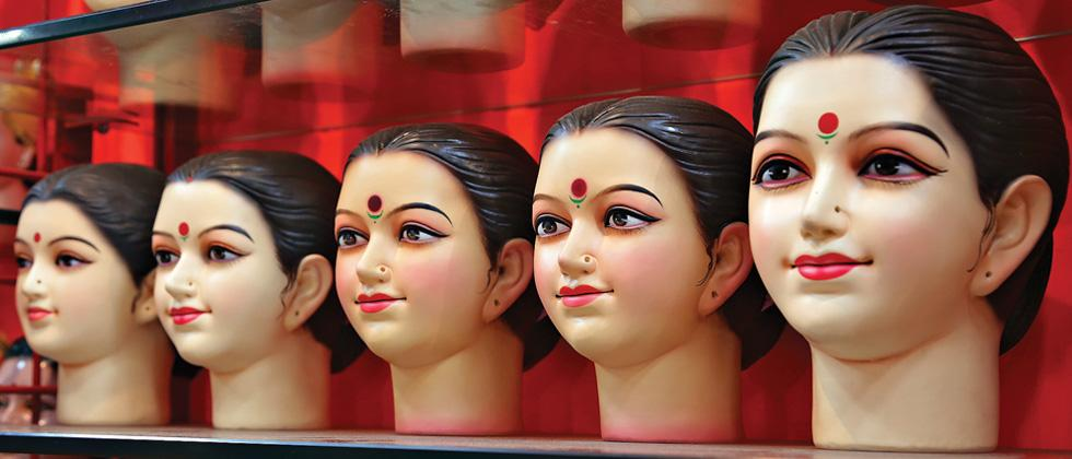 Gauri idols at a store
