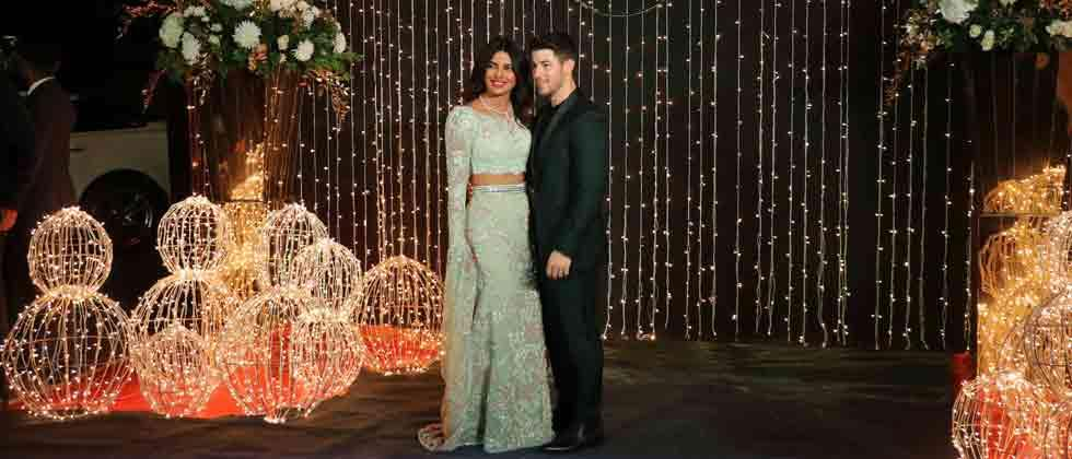 Priyanka Chopra and Nick Jonas during a reception in Mumbai