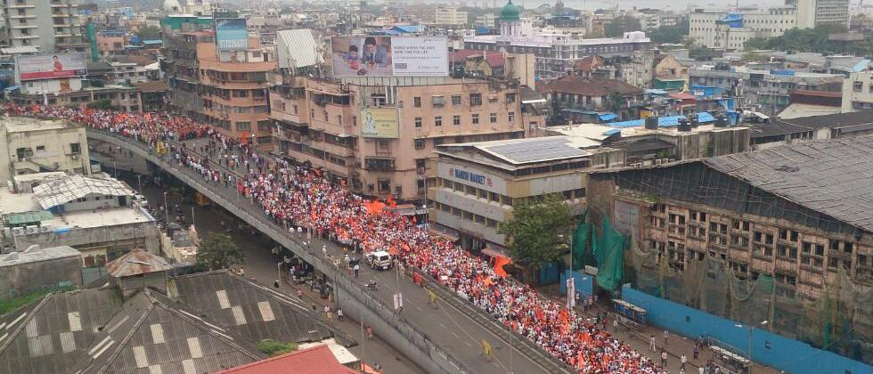 Maratha Kranti Morcha rally on JJ bridge, Mumbai on Wednesday.