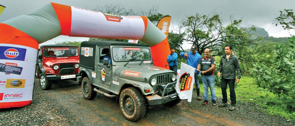 Asia-Pacific Rally Championship driver Sanjay Takale (second from right) flagging off Great Escape event recently.