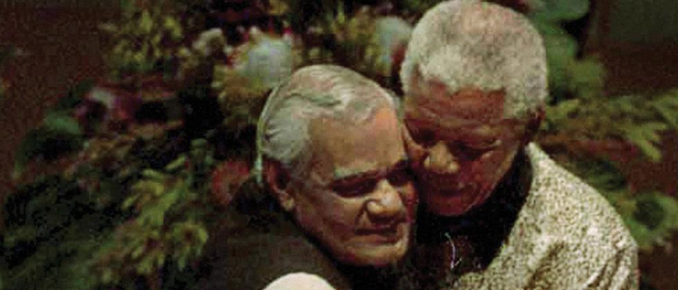 South African President Nelson Mandela with the then Prime Minister Atal Bihari Vajpayee a the Non Aligned Movement (NAM) summit in Durban in Sept 1998.