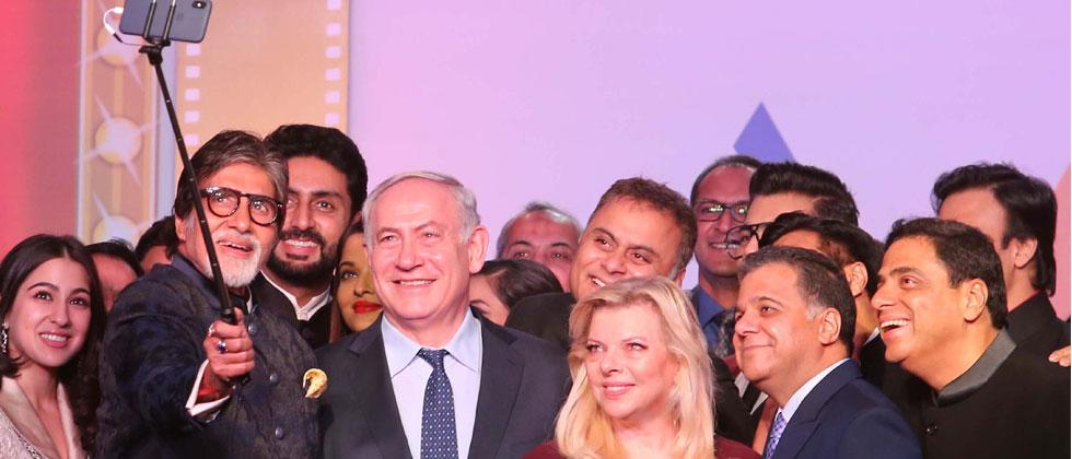 Israel PM Benjamin Netanyahu and First Lady Sara with Bollywood Stars