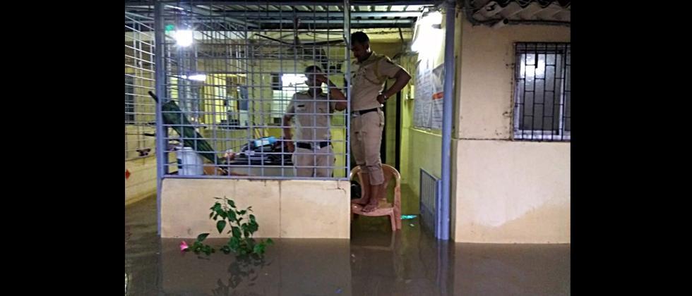 Waterlogging inside Vakola Police Station after heavy rainfall in Mumbai