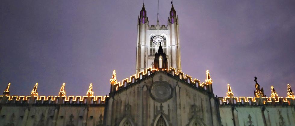 St Paul's Cathedral, Kolkata, decked up with lights (Pic: Tirthankar Das)