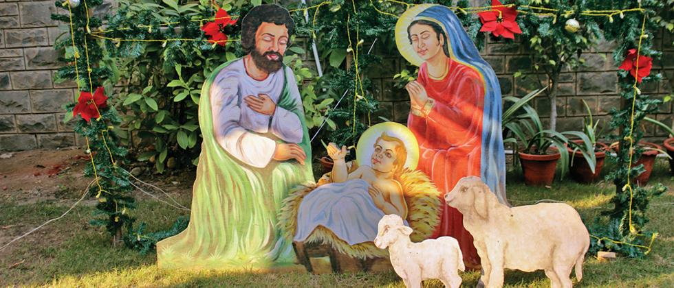 An artwork, portraying infant Jesus with Joseph and Mary, on display at a park in New Delhi (Pic: Pradeep Chamaria)
