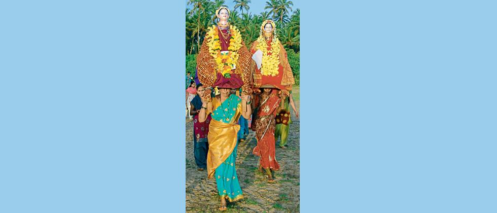 The procession during Gauri puja