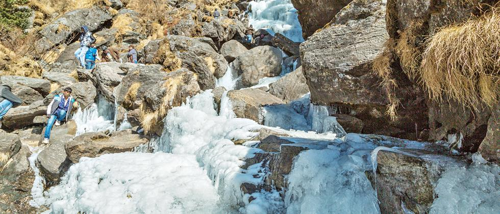 Frozen waterfalls are a common sight in Sikkim this season (Pic: Kaynat Kazi)