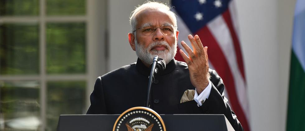 Prime Minister Narendra Modi speaks during a joint press conference with US President Donald Trump in the Rose Garden at the White House in Washington, DC on Monday.