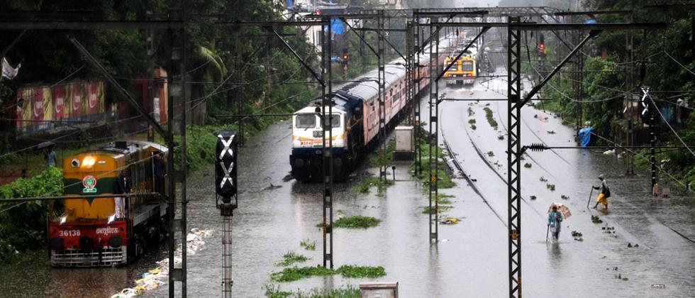 Waterlogged railway tracks between Sion and Matunga after heavy rainfall in Mumbai on Monday.