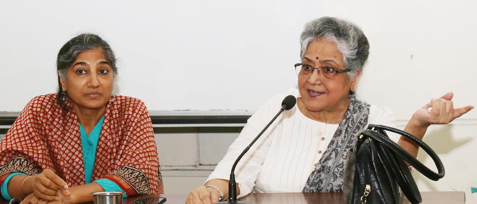 Sabita Goswami (R) and Geeta Seshu during a discussion in the city on Saturday.