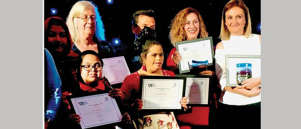 Pune-based Saylee Agavane (second from left), a special girl with Down Syndrome and who is a national and international dance artiste, was recently awarded with the World Down Syndrome Day Award.