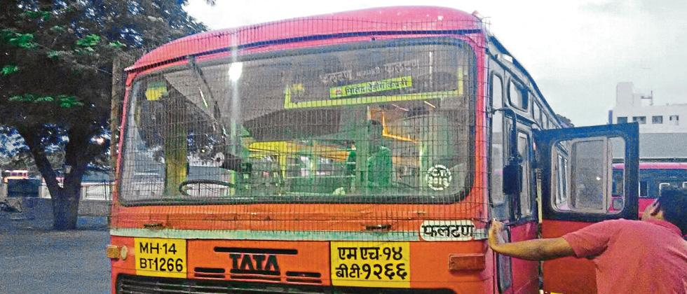The windshield armour installed on a State Transport bus in Baramati.