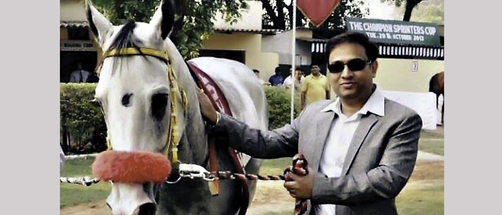 Sunil Verma with his race horse