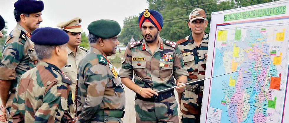 Lt Gen P Mohammed Hariz at Thara Medical Camp in Banaskantha district of Gujarat.
