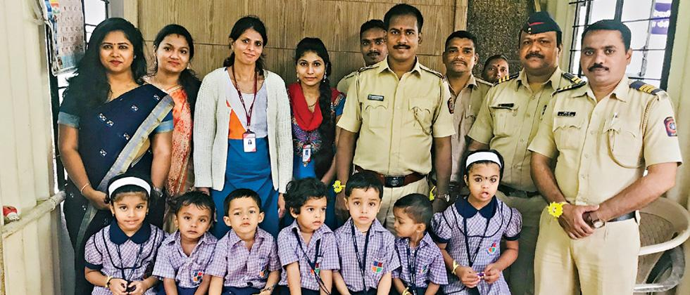 Students of Lexicon Kids Baner celebrated Raksha Bandhan with officers of Pashan Police  by tying rakhi, on August 24