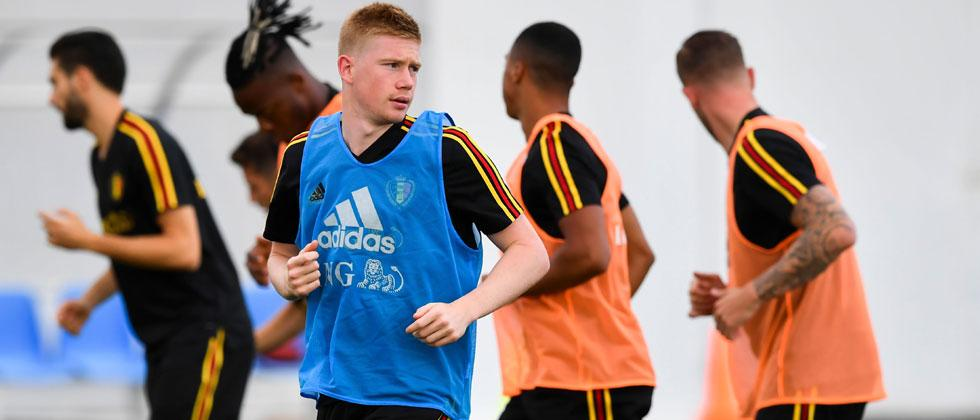 Belgium's midfielder Kevin De Bruyne runs during a training session at the Park arena in Sochi on June 16, 2018 at the Russia 2018 FIFA World Cup football tournament. Nelson Almeida/AFP
