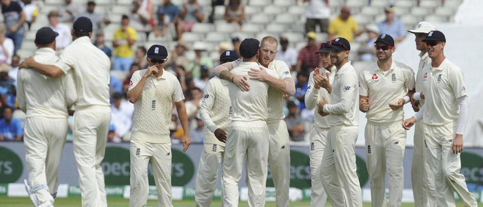 England's Ben Stokes, without cap, celebrates with teammates the dismissal of India's Mohammed Shami during the fourth day of the first test cricket match between England and India at Edgbaston in Birmingham, England, Saturday, Aug. 4, 2018. AP/PTI