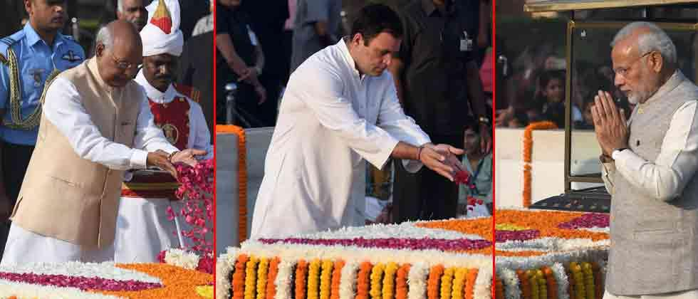 President, PM, Rahul remember Gandhi on his birth anniversary