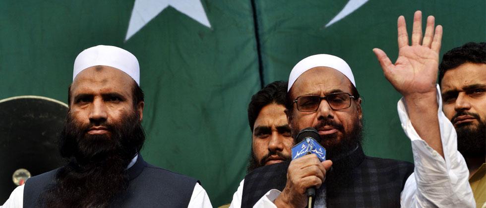 Pakistani head of the Jamaat-ud-Dawa, Hafiz Saeed addresses during a protest rally. Arif Ali/AFP