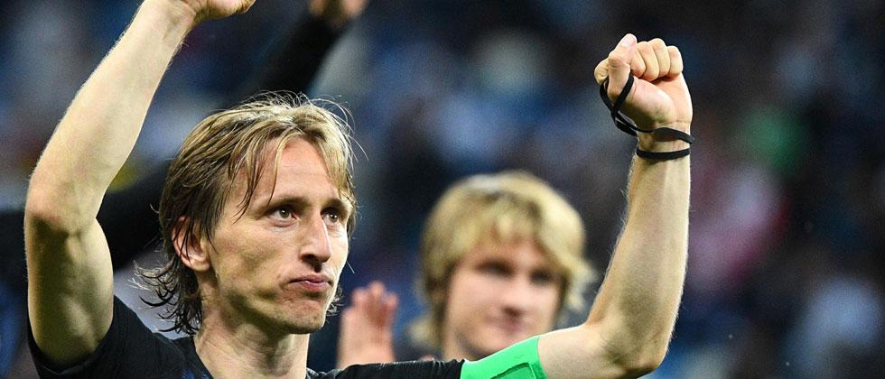 Croatia's midfielder Luka Modric celebrates their victory at the end of the Russia 2018 World Cup Group D football match between Argentina and Croatia at the Nizhny Novgorod Stadium. Johannes Eisele/AFP