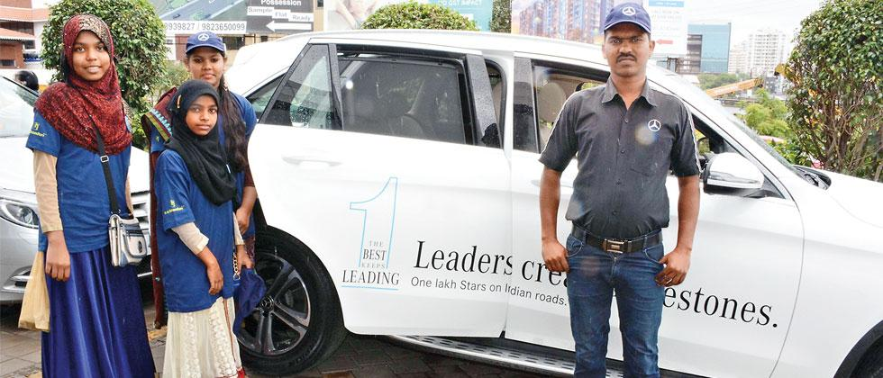 Top-scoring students from the Pune Municipal Corporation-run schools were recently given a long ride in brand new Mercedes-Benz cars