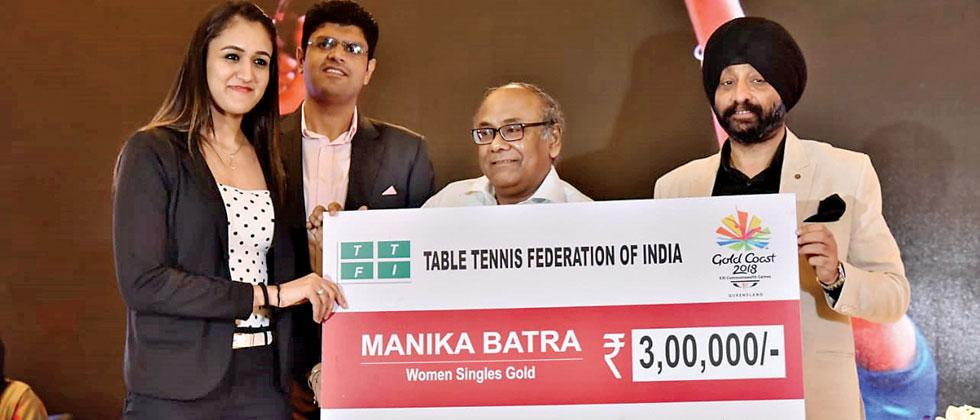 Table Tennis star Manika Batra being felicitated in a recently held function organised by Table Tennis Federation of India