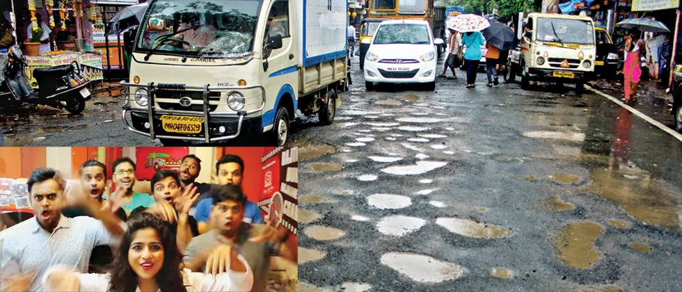 A file photo of  potholes on Mumbai roads.  (Inset) A grab from the song by RJ Malishka which went viral on the Internet. (Credit: YouTube)