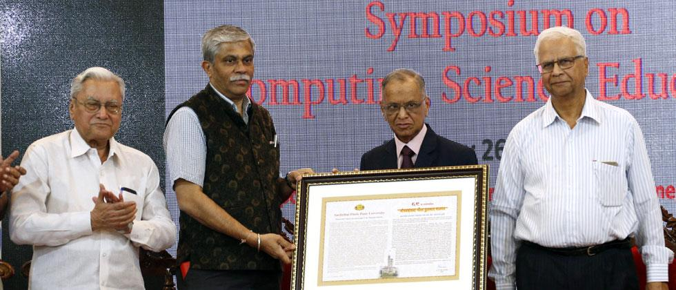 From left prof Ram Takawale, VC Nitin Karmalkar, NR Narayana Murthy and H V Sahasrabuddhe