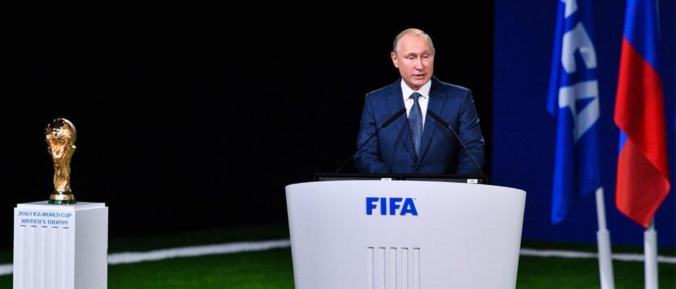 Russian President Vladimir Putin gives a speech during the 68th FIFA Congress at the Expocentre in Moscow on June 13, 2018. Mladen Antonov/AFP