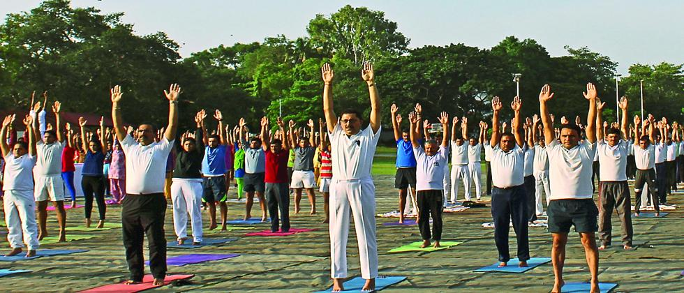 The Yoga Day celebrations at Milkha Singh Sports Complex  in Pune Cantonment on Wednesday.