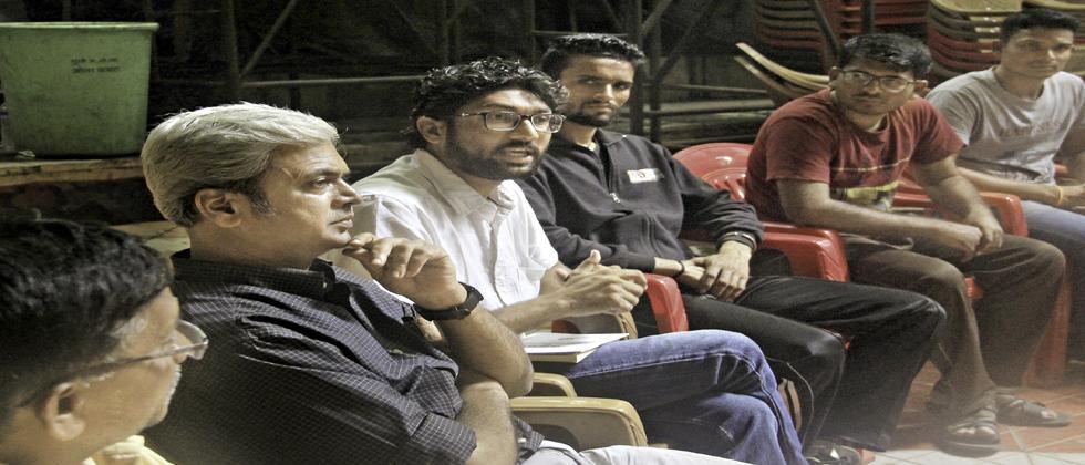 Social activist Jignesh Mevani interacting with youngsters at the Rashtra Seva Dal Auditorium near Dandekar Pool, Sinhagad Road.