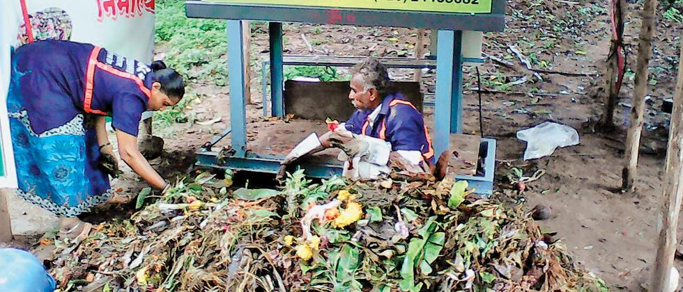 SWaCH workers composting Nirmalya collected from Manache Ganapati in PL Deshpande Garden off Sinhagad Road on Tuesday